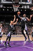 Jason Thompson of the Sacramento Kings rebounds against the Oklahoma City Thunder on December 16 2014 at Sleep Train Arena in Sacramento California...