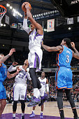 Jason Thompson of the Sacramento Kings rebounds against the Oklahoma City Thunder on January 7 2015 at Sleep Train Arena in Sacramento California...
