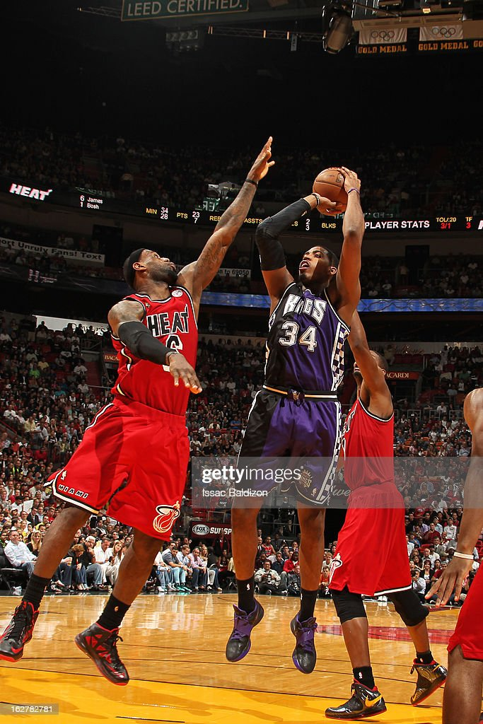 Jason Thompson #34 of the Sacramento Kings shoots against <a gi-track='captionPersonalityLinkClicked' href=/galleries/search?phrase=LeBron+James&family=editorial&specificpeople=201474 ng-click='$event.stopPropagation()'>LeBron James</a> #6 of the Miami Heat on February 26, 2013 at American Airlines Arena in Miami, Florida.
