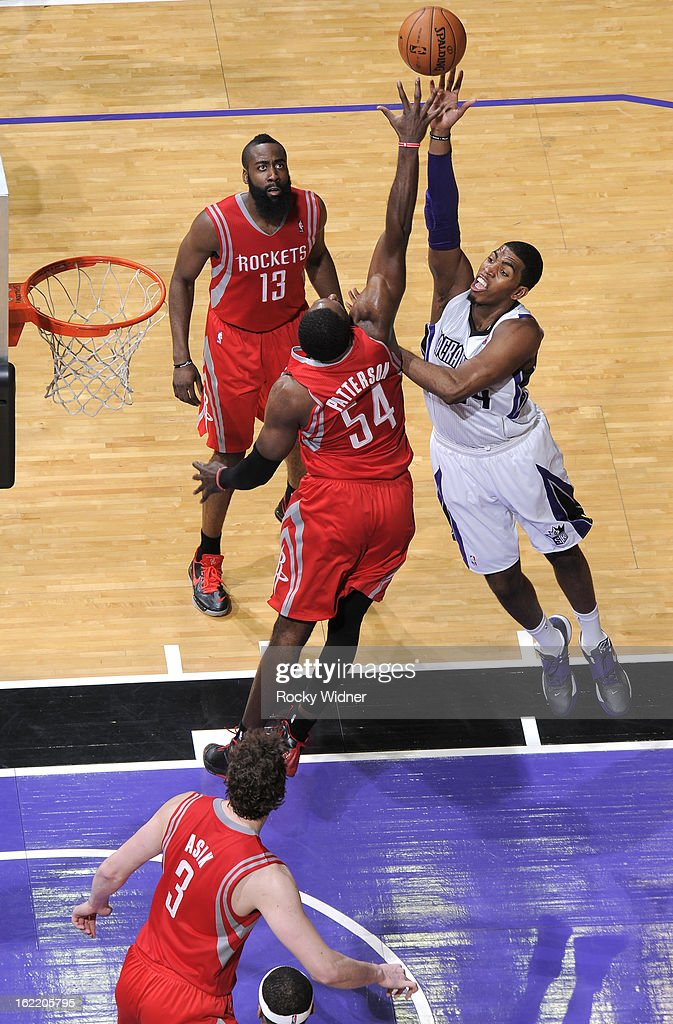 Jason Thompson #34 of the Sacramento Kings shoots against <a gi-track='captionPersonalityLinkClicked' href=/galleries/search?phrase=Patrick+Patterson&family=editorial&specificpeople=2928099 ng-click='$event.stopPropagation()'>Patrick Patterson</a> #54 of the Houston Rockets on February 10, 2013 at Sleep Train Arena in Sacramento, California.