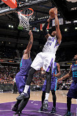 Jason Thompson of the Sacramento Kings shoots against the Charlotte Hornets on March 20 2015 at Sleep Train Arena in Sacramento California NOTE TO...