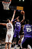 Jason Thompson of the Sacramento Kings shoots against the Cleveland Cavaliers at The Quicken Loans Arena on January 30 2015 in Cleveland Ohio NOTE TO...