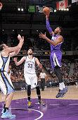 Jason Thompson of the Sacramento Kings shoots against the Memphis Grizzlies on February 25 2015 at Sleep Train Arena in Sacramento California NOTE TO...