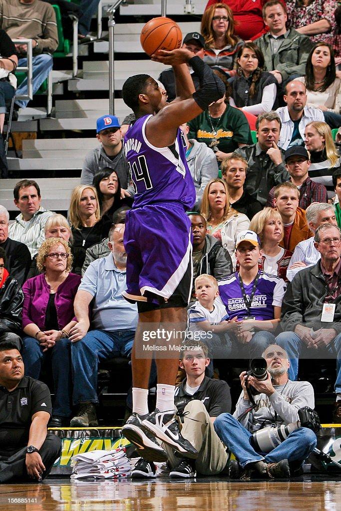 Jason Thompson #34 of the Sacramento Kings shoots against the Utah Jazz at Energy Solutions Arena on November 23, 2012 in Salt Lake City, Utah.