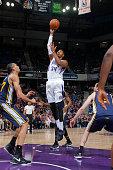 Jason Thompson of the Sacramento Kings shoots against the Utah Jazz on April 5 2015 at Sleep Train Arena in Sacramento California NOTE TO USER User...