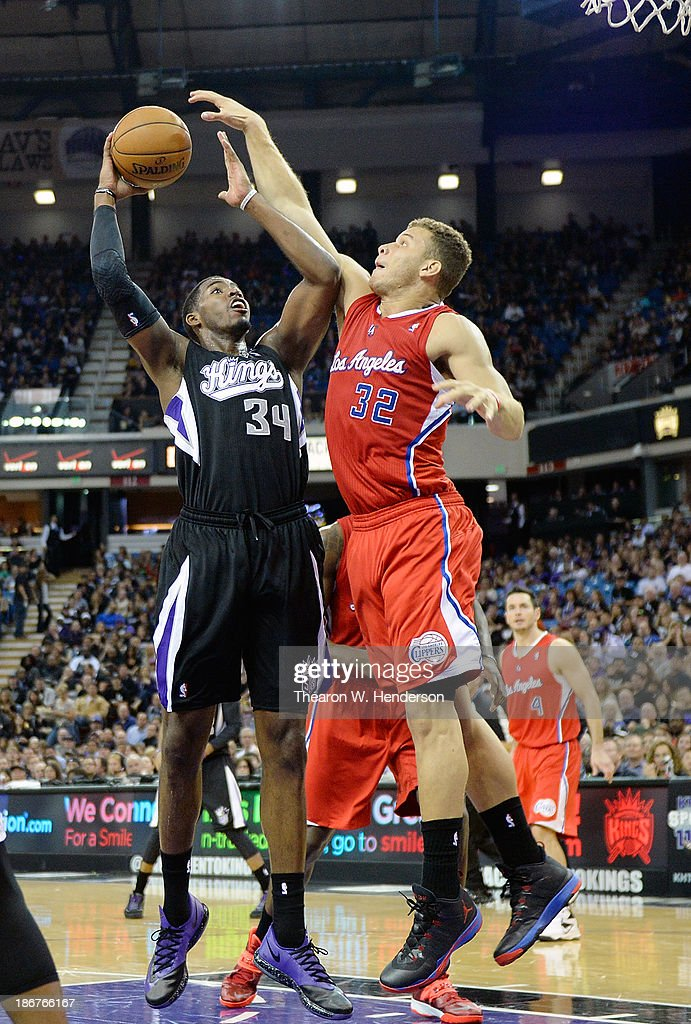 Jason Thompson #34 of the Sacramento Kings shoots over Blake Griffin #32 of the Los Angeles Clippers during the second quarter at Sleep Train Arena on November 1, 2013 in Sacramento, California.