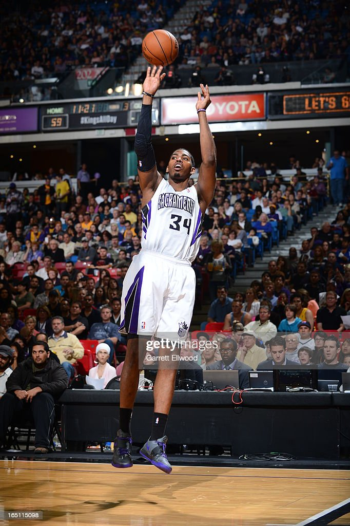 Jason Thompson #34 of the Sacramento Kings shoots the ball against the Los Angeles Lakers on March 30, 2013 at Sleep Train Arena in Sacramento, California.