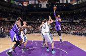 Jason Thompson of the Sacramento Kings shoots the ball against the Memphis Grizzlies on February 25 2015 at Sleep Train Arena in Sacramento...