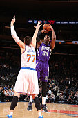 Jason Thompson of the Sacramento Kings shoots the ball against the New York Knicks during the game on March 3 2015 at Madison Square Garden in New...
