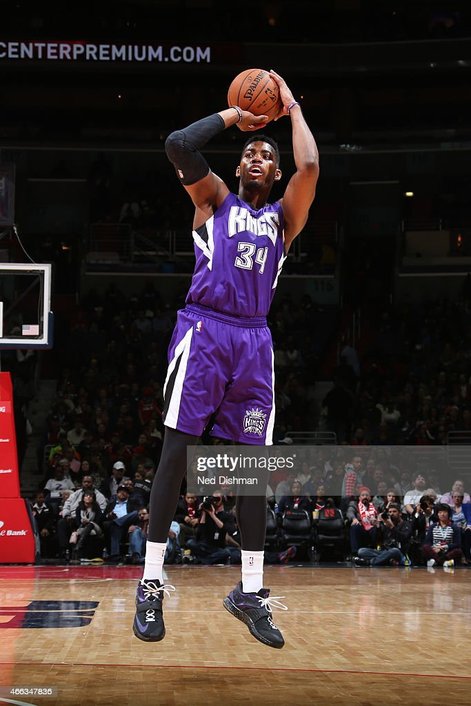 Jason Thompson #34 of the Sacramento Kings shoots the ball against the Washington Wizards on March 14, 2015 at Verizon Center in Washington, DC.