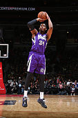 Jason Thompson of the Sacramento Kings shoots the ball against the Washington Wizards on March 14 2015 at Verizon Center in Washington DC NOTE TO...