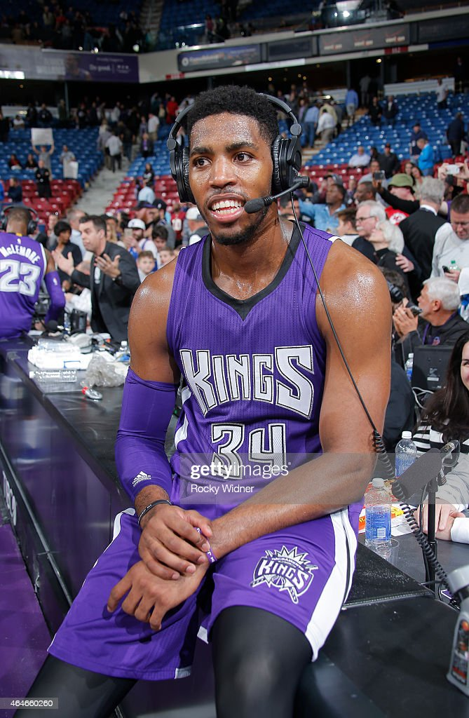 Jason Thompson #34 of the Sacramento Kings speaks with media after defeating the Memphis Grizzlies on February 25, 2015 at Sleep Train Arena in Sacramento, California.
