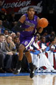 Jason Thompson of the Sacremento Kings dribbles the ball up court during a game against the Oklahoma City Thunder on October 22 2009 at the Ford...
