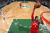 Jason Thompson of the Toronto Raptors goes up for a dunk against the Milwaukee Bucks on March 15 2016 at the BMO Harris Bradley Center in Milwaukee...