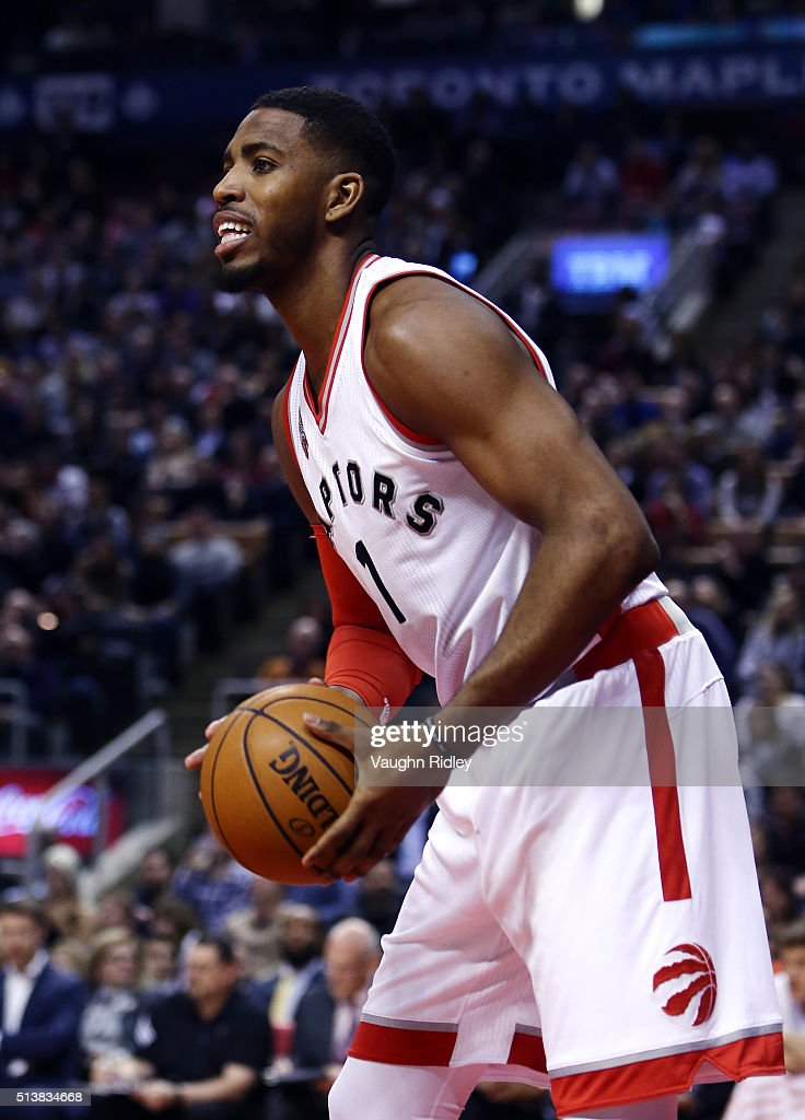 Jason Thompson #1 of the Toronto Raptors makes his debut for the Raptors during the first half of an NBA game at the Air Canada Centre on March 04, 2016 in Toronto, Ontario, Canada.