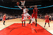 Jason Thompson of the Toronto Raptors shoots the ball against the Chicago Bullson March 14 2016 at the Air Canada Centre in Toronto Ontario Canada...