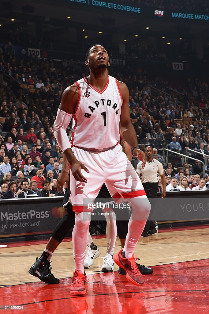 Jason Thompson #1 of the Toronto Raptors stands on the court during the game against the Brooklyn Nets on March 8, 2016 at the Air Canada Centre in Toronto, Ontario, Canada.