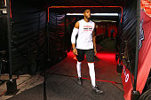 Jason Thompson of the Toronto Raptors walks to the court before Game Six of the NBA Eastern Conference Finals against the Golden State Warriors at...