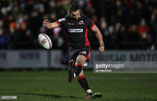 Jason Tovey of Edinburgh kicks a conversion during the European Rugby Challenge Cup match between Edinburgh Rugby and Timisoara Saracens at Myreside...