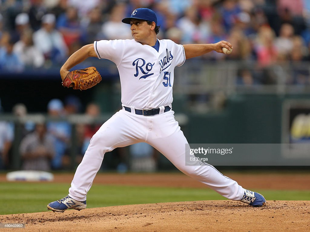 Jason Vargas #51 of the Kansas City Royals throws in the first inning against the Cleveland Indians at Kauffman Stadium on June 10, 2014 in Kansas City, Missouri.