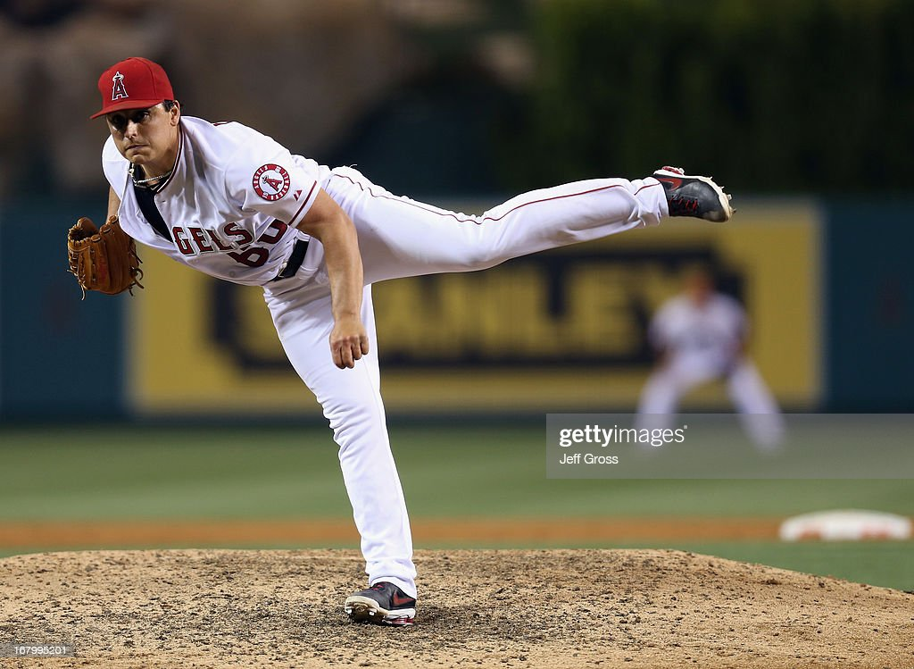 <a gi-track='captionPersonalityLinkClicked' href=/galleries/search?phrase=Jason+Vargas&family=editorial&specificpeople=640899 ng-click='$event.stopPropagation()'>Jason Vargas</a> #60 of the Los Angeles Angels of Anaheim follows through on a pitch against the Baltimore Orioles in the ninth inning at Angel Stadium of Anaheim on May 3, 2013 in Anaheim, California. The Angels defeated the Orioles 4-0.