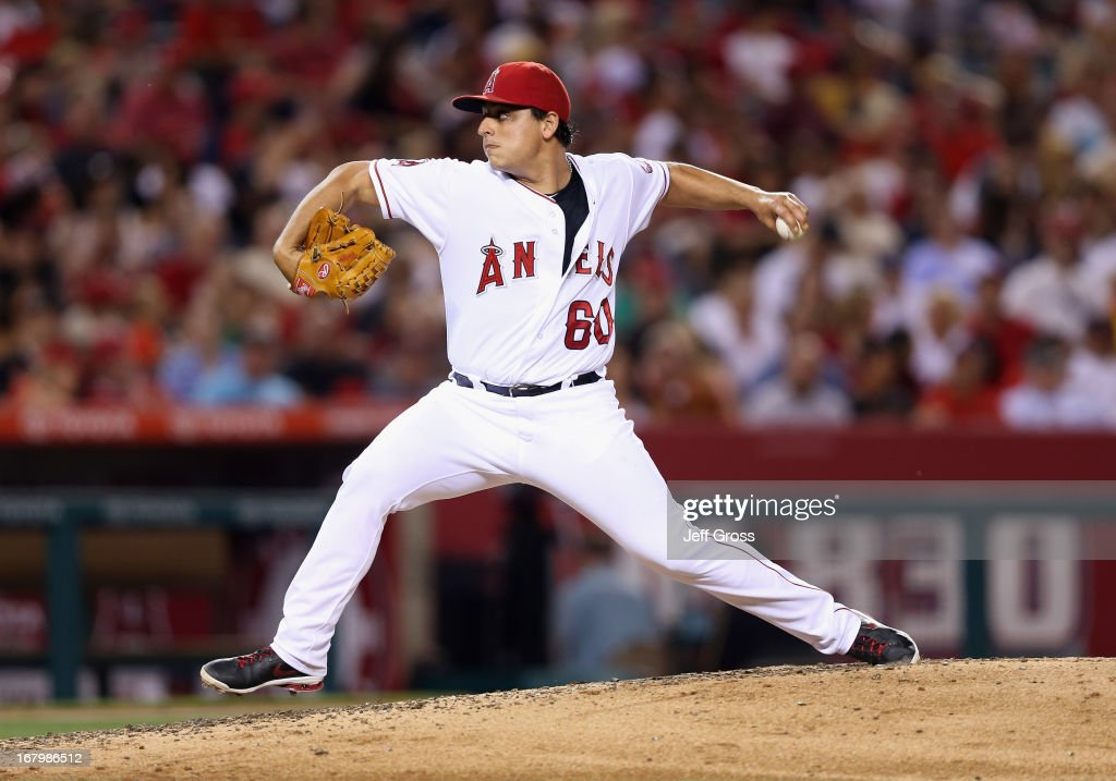 Jason Vargas #60 of the Los Angeles Angels of Anaheim pitches against the Baltimore Orioles in the fifth inning at Angel Stadium of Anaheim on May 3, 2013 in Anaheim, California.