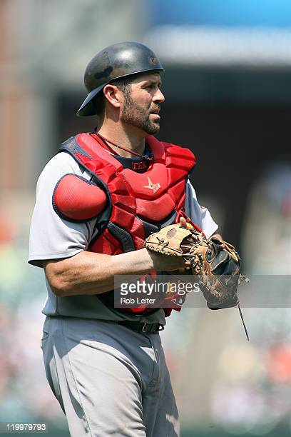 Jason Varitek of the Boston Red Sox catches during the game against the Baltimore Orioles at Oriole Park at Camden Yards on July 20 2011 in Baltimore...
