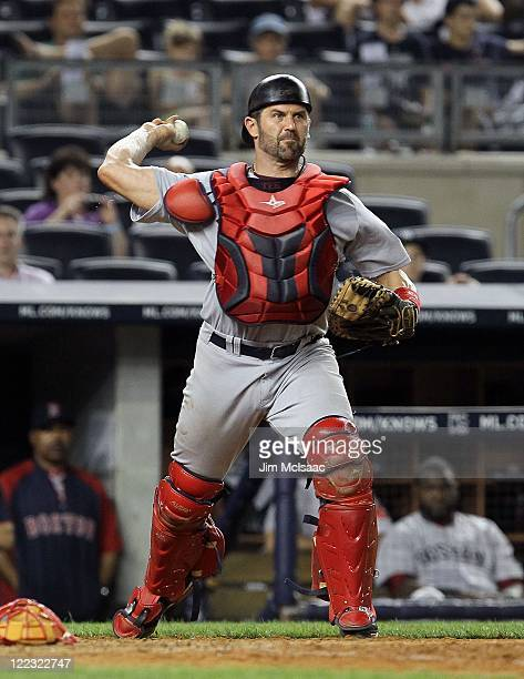 Jason Varitek of the Boston Red Sox in action against the New York Yankees on June 8 2011 at Yankee Stadium in the Bronx borough of New York City The...