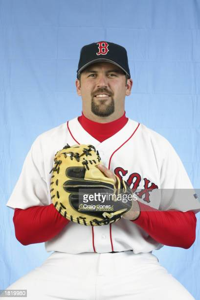 Jason Varitek of the Boston Red Sox poses for a portrait during the Red Sox spring training Media Day on February 23 2003 at Ed Smith Stadium in...