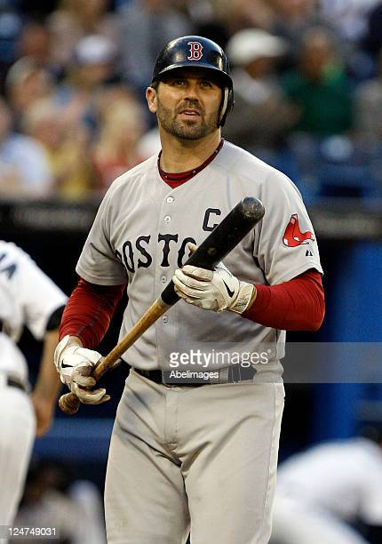 Jason Varitek of the Boston Red Sox takes the strike against the Toronto Blue Jays during MLB action at the Rogers Centre September 8 2011 in Toronto...