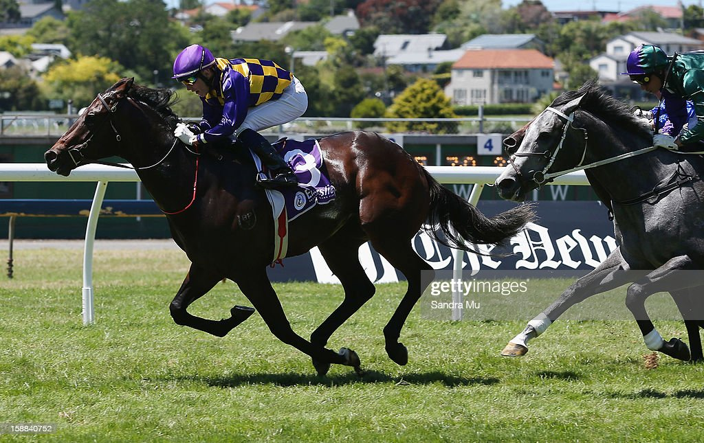 Jason Waddell rides Gobi Ranger to win the Barneswood Farm Eclipse Stakes at Ellerslie Racecourse on January 1, 2013 in Auckland, New Zealand.