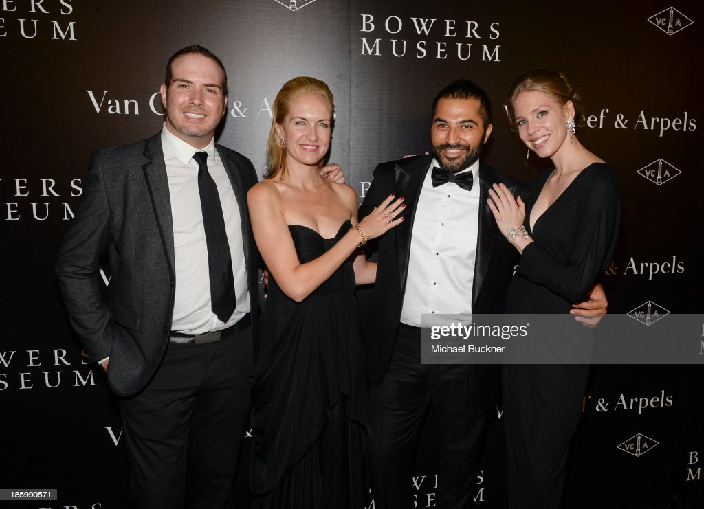 Jason Wanamaker of This Is Mission, Vice President of Communications at Van Cleef & Arpels Kristina Buckley, Akbar Hamid of This Is Mission and Public Relations Manager at Van Cleef & Arpels Desiree Gallas attend A Quest for Beauty: The Art Of Van Cleef & Arpels - Red Carpet at The Bowers Museum on October 26, 2013 in Santa Ana, California.
