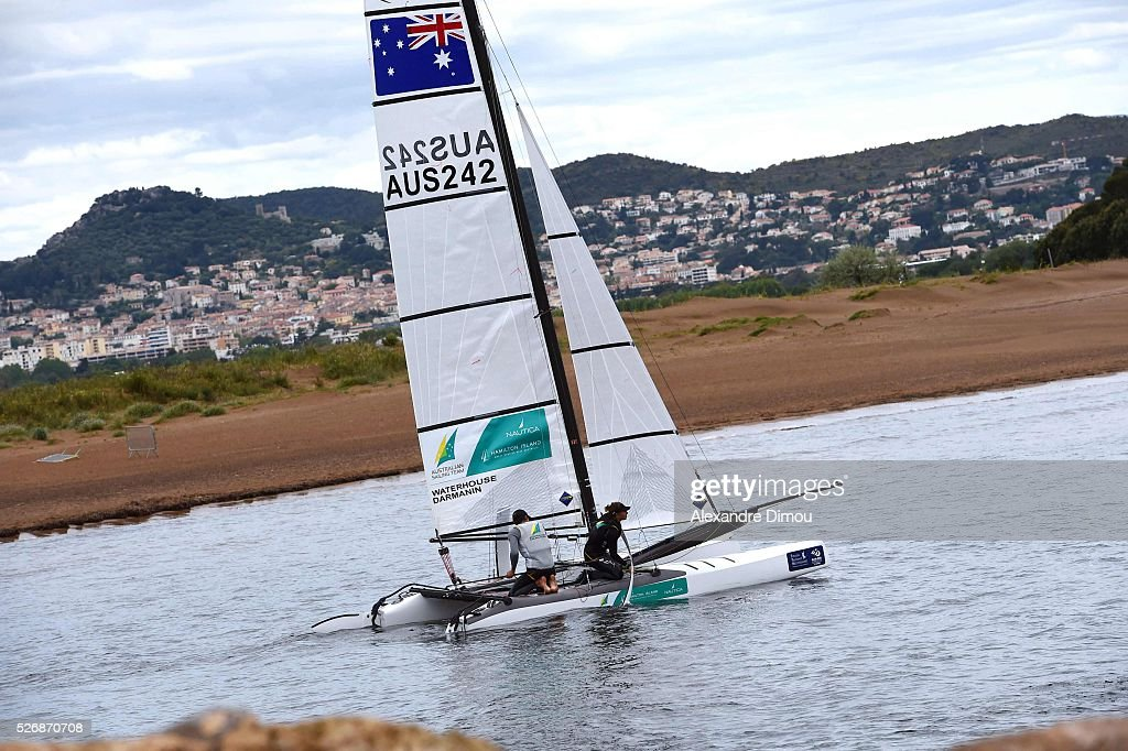 Jason Waterhouse and Lisa Darmanon of Australia compete in the Nacra 17 Boat race boat during the Sailing World Cup on May 1, 2016 in Hyeres, France.