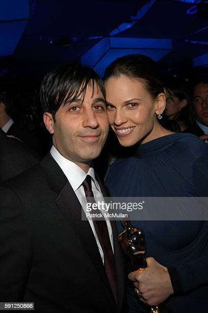 Jason Weinberg and Hilary Swank attend Vanity Fair Oscar Party at Morton's Restaurant on February 27 2005 in Los Angeles California