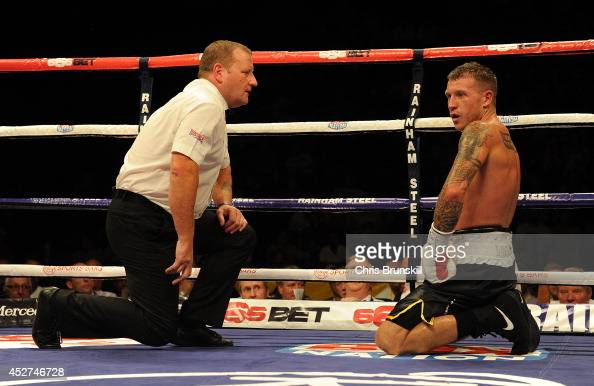 Jason Welborn takes a break after being hit by a low blow from Liam Smith during the British Light Middleweight Championship fight at the Phones 4u...
