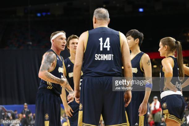 Jason Wiliams and Oscar Schmidt of the East Team talk during the NBA AllStar Celebrity Game as a part of 2017 AllStar Weekend at the MercedesBenz...