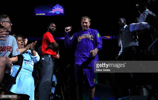 Jason Williams of the 3 Headed Monsters is introduced during week one of the BIG3 three on three basketball league at Barclays Center on June 25 2017...