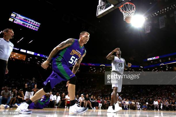 Jason Williams of the 3 Headed Monsters reacts after a basket against the Ghost Ballers during week one of the BIG3 three on three basketball league...