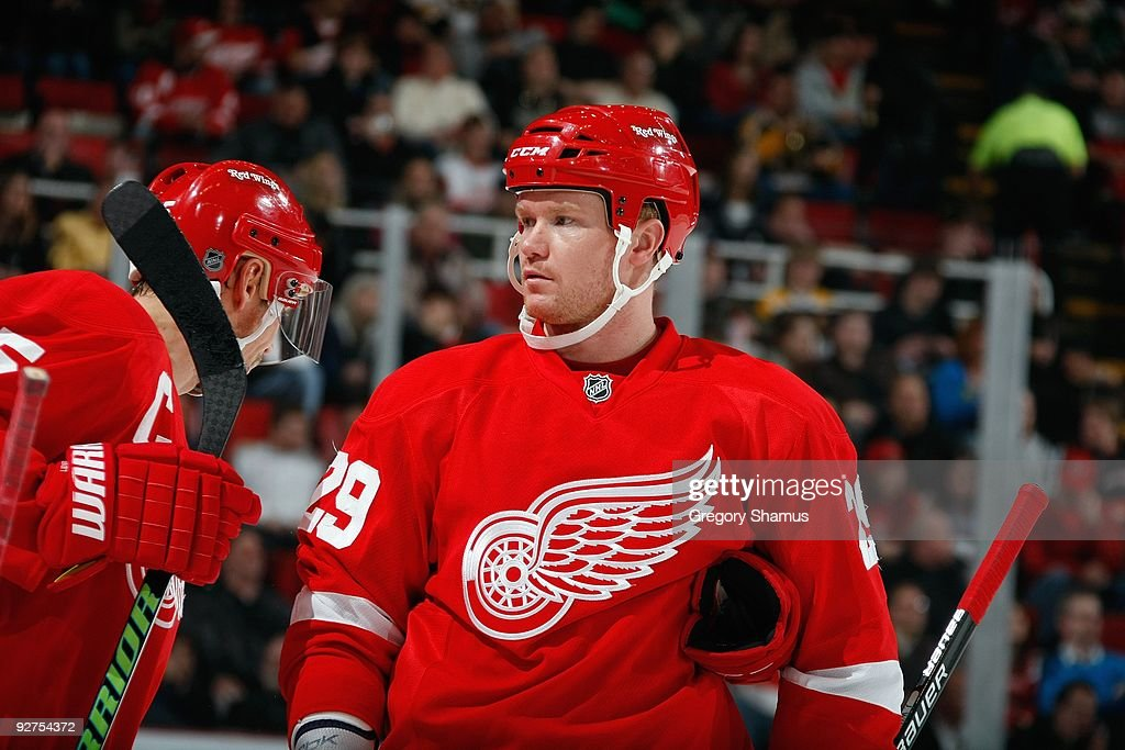 Jason Williams #29 of the Detroit Red Wings looks on during the game against the Boston Bruins on November 3, 2009 at Joe Louis Arena in Detroit, Michigan.