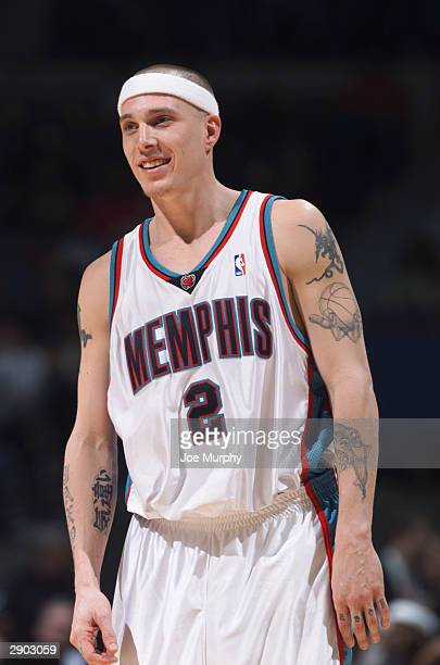Jason Williams of the Memphis Grizzlies stands on the court during the game against the Houston Rockets at The Pyramid on January 19 2004 in Memphis...