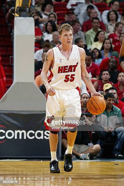 Jason Williams of the Miami Heat moves the ball during the Hurricane Katrina Relief Benefit Game with the San Antonio Spurs at American Airlines...