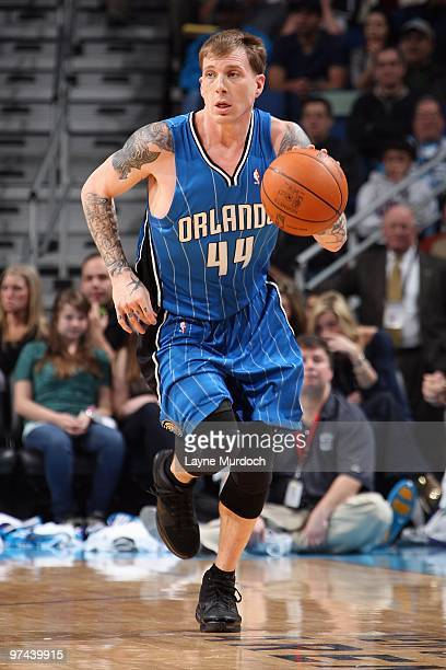 Jason Williams of the Orlando Magic drives the ball upcourt against the New Orleans Hornets during the game on February 26 2010 at the New Orleans...