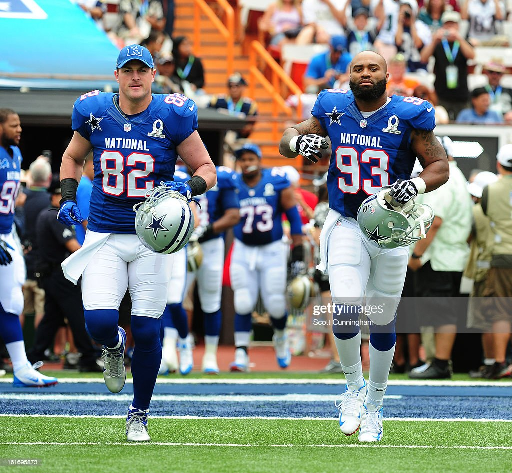 Jason Witten #82 and Anthony Spencer #93 of the Dallas Cowboys and the NFC are introduced before the 2013 Pro Bowl against the American Football Conference team at Aloha Stadium on January 27, 2013 in Honolulu, Hawaii