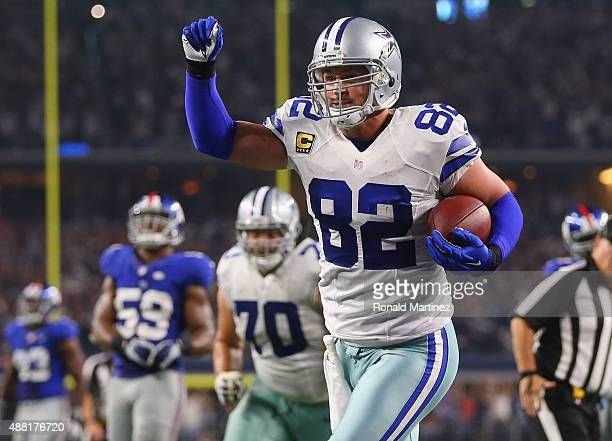 Jason Witten of the Dallas Cowboys celebrates the game winning touchdown against the New York Giants in the fourth quarter at ATT Stadium on...