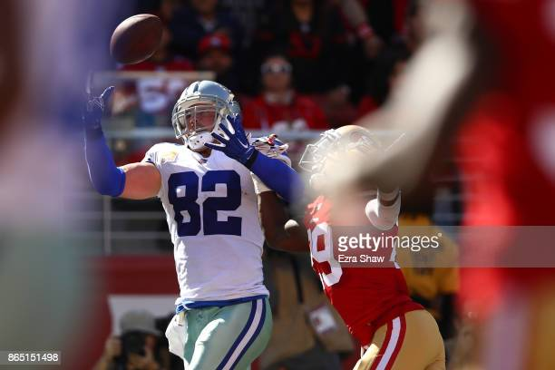Jason Witten of the Dallas Cowboys makes an 18yard catch for a touchdown against the San Francisco 49ers during their NFL game at Levi's Stadium on...