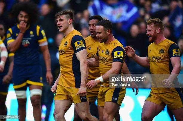 Jason Woodward of Bristol Rugby celebrates scoring a try during the Aviva Premiership match between Worcester Warriors and Bristol Rugby at Sixways...