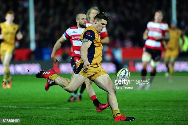 Jason Woodward of Bristol Rugby clears the ball during the Aviva Premiership match between Gloucester Rugby and Bristol Rugby at Kingsholm Stadium on...