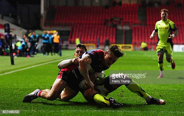 Jason Woodward of Bristol Rugby goes over for his sides first try during the AngloWelsh Cup match between Bristol Rugby and Sale Sharks at Ashton...
