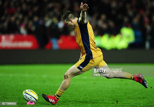Jason Woodward of Bristol Rugby kicks a penalty during the Aviva Premiership match between Gloucester Rugby and Bristol Rugby at Kingsholm Stadium on...