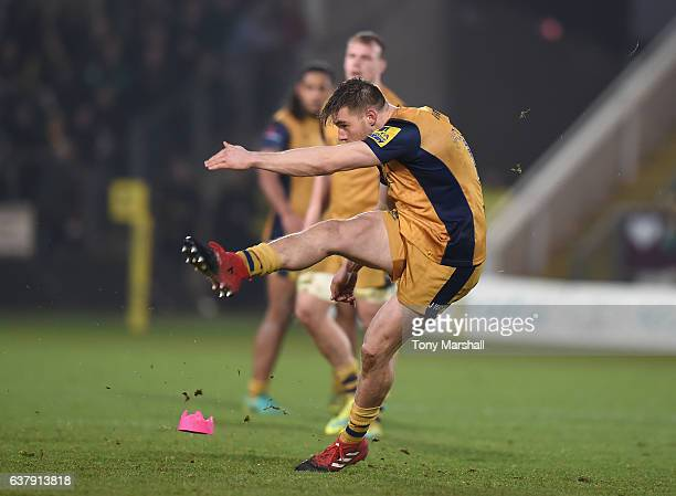 Jason Woodward of Bristol Rugby kicks during the Aviva Premiership match between Northampton Saints and Bristol Rugby at Franklin's Gardens on...